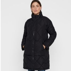Noisy may Malcolm Quilted Black Long Jacket Sz L